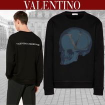 VALENTINO Crew Neck Skull Blended Fabrics Street Style Long Sleeves