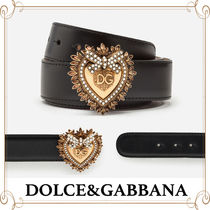 Dolce & Gabbana Heart Plain Leather With Jewels Belts