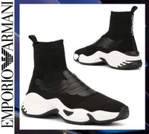 EMPORIO ARMANI Blended Fabrics Street Style Bi-color Sneakers