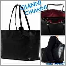 GIANNI CHIARINI Plain Leather Elegant Style Totes
