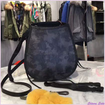 Mr & Mrs Furs Camouflage Casual Style Leather Elegant Style Shoulder Bags
