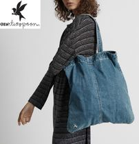 One Teaspoon Casual Style Unisex Street Style A4 Plain Totes