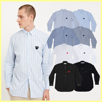 COMME des GARCONS Stripes Heart Unisex Street Style Long Sleeves Cotton