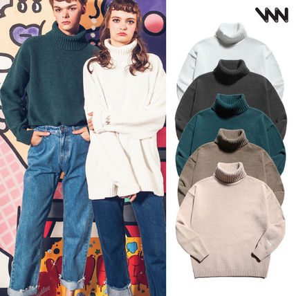 Unisex Street Style Plain Knits & Sweaters