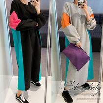 Crew Neck Casual Style Maxi A-line U-Neck Bi-color