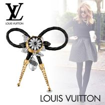 Louis Vuitton Blended Fabrics Flower Leather Party Style With Jewels