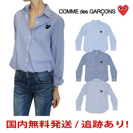 COMME des GARCONS Shirts & Blouses Stripes Heart Unisex Street Style Long Sleeves Cotton