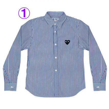 COMME des GARCONS Shirts & Blouses Stripes Heart Unisex Street Style Long Sleeves Cotton 2