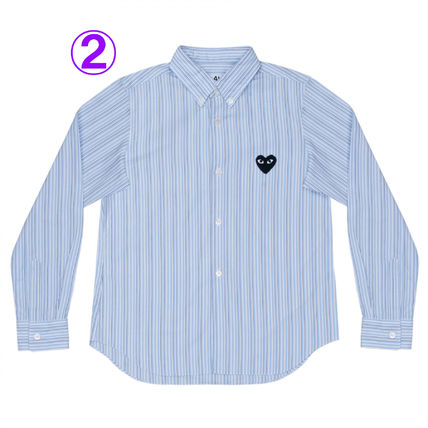 COMME des GARCONS Shirts & Blouses Stripes Heart Unisex Street Style Long Sleeves Cotton 3