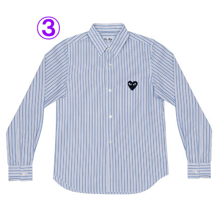COMME des GARCONS Shirts & Blouses Stripes Heart Unisex Street Style Long Sleeves Cotton 4