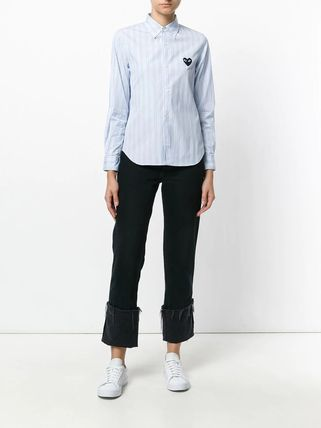 COMME des GARCONS Shirts & Blouses Stripes Heart Unisex Street Style Long Sleeves Cotton 5