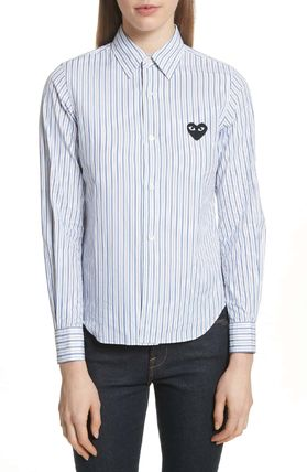 COMME des GARCONS Shirts & Blouses Stripes Heart Unisex Street Style Long Sleeves Cotton 6
