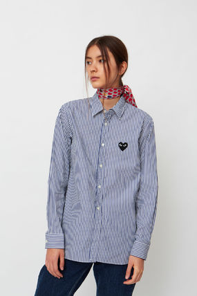 COMME des GARCONS Shirts & Blouses Stripes Heart Unisex Street Style Long Sleeves Cotton 7