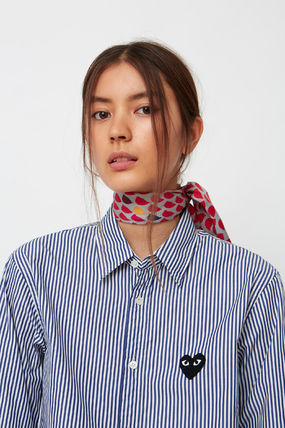 COMME des GARCONS Shirts & Blouses Stripes Heart Unisex Street Style Long Sleeves Cotton 9