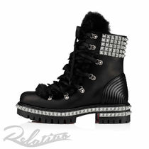 Christian Louboutin Plain Toe Mountain Boots Studded Plain Logo Outdoor Boots