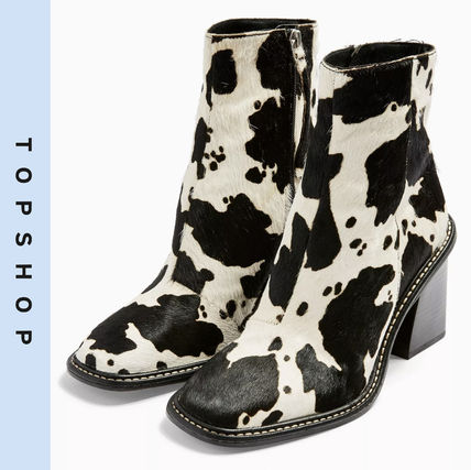 Casual Style Other Animal Patterns Leather Block Heels