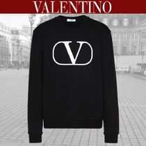 VALENTINO Crew Neck Blended Fabrics Street Style Long Sleeves Cotton