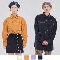 ROMANTIC CROWN Casual Style Unisex Street Style Long Sleeves Plain Cotton