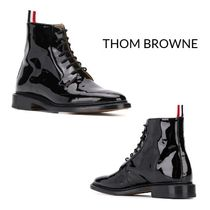 THOM BROWNE Lace-up Enamel Plain Leather Lace-up Boots