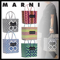 MARNI MARNI MARKET Other Check Patterns Calfskin PVC Clothing Straw Bags