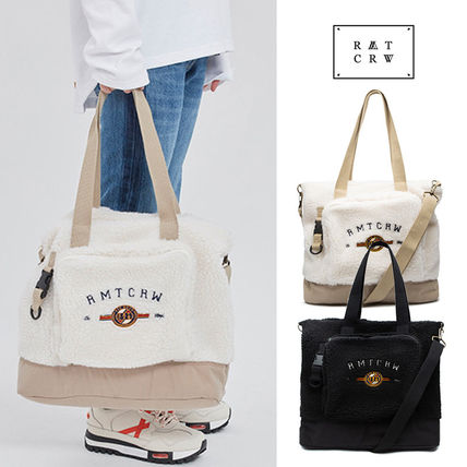 Casual Style Unisex Faux Fur Street Style A4 2WAY Totes
