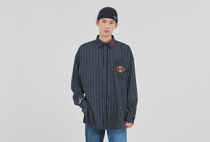 Stripes Unisex Street Style Long Sleeves Oversized Logo