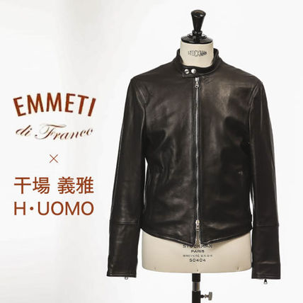 Short Collaboration Plain Leather Biker Jackets
