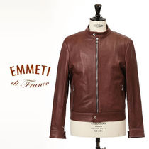 EMMETI Short Leather Dark Brown Biker Jackets