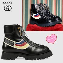 GUCCI Sylvie Stripes Plain Toe Leather Engineer Boots