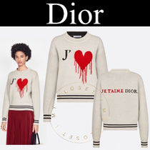 Christian Dior Crew Neck Heart Casual Style Cashmere Street Style
