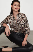 BCBG MAXAZRIA Leopard Patterns Long Sleeves Shirts & Blouses