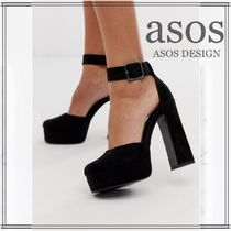 ASOS Square Toe Suede Chunky Heels High Heel Pumps & Mules