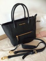 MiuMiu MADRAS 2WAY Plain Leather Shoulder Bags