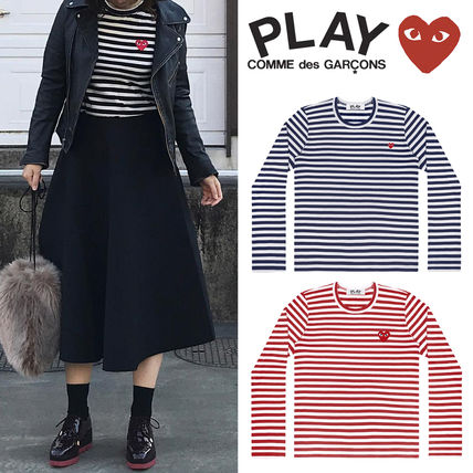 COMME des GARCONS Stripes Heart Long Sleeves Long Sleeve T-shirt T-Shirts