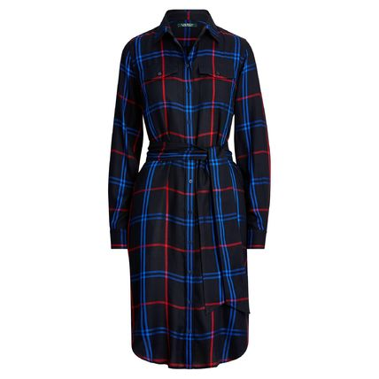 Tartan Casual Style Long Sleeves Office Style Shirt Dresses