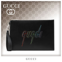 GUCCI Unisex Street Style Bag in Bag Leather Clutches