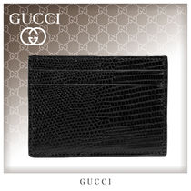GUCCI Unisex Street Style Plain Leather Card Holders