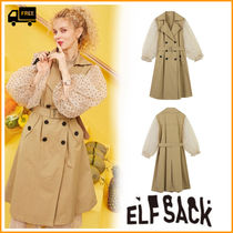 ELF SACK Dots Casual Style Street Style Trench Coats