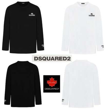 D SQUARED2 Long Sleeve Unisex Street Style Long Sleeves Cotton Logos on the Sleeves