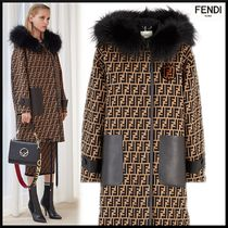 FENDI Casual Style Unisex Wool Fur Blended Fabrics Leather Medium