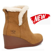 UGG Australia Round Toe Casual Style Suede Plain Office Style Wedge Boots