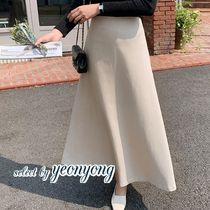 Flared Skirts Casual Style Maxi Plain Long Office Style