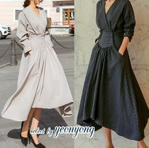 Stripes Casual Style Maxi Flared V-Neck Long Sleeves Long