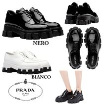 PRADA Rubber Sole Casual Style Plain Leather Shoes