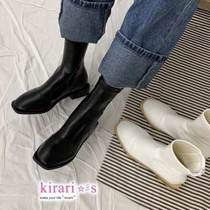 Ankle & Booties Square Toe Casual Style Faux Fur Plain Other Animal Patterns