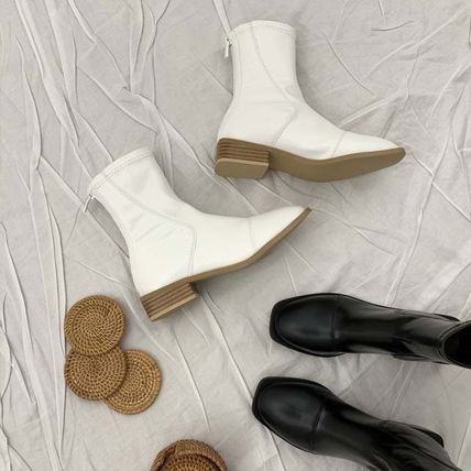 Ankle & Booties Square Toe Casual Style Faux Fur Plain Other Animal Patterns 4