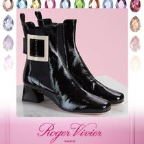 Roger Vivier Square Toe Rubber Sole Casual Style Plain Leather