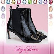 Roger Vivier Square Toe Rubber Sole Casual Style Plain Leather Pin Heels