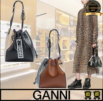 Ganni Casual Style Faux Fur Plain Leather Handmade Purses