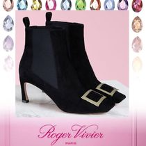 Roger Vivier Square Toe Rubber Sole Casual Style Suede Plain Pin Heels
